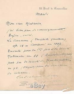Ernest Chausson Autograph Letter Signed Caravan Gautier