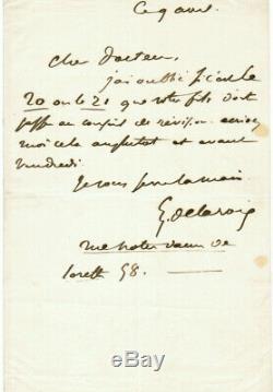 Eugène Delacroix Autograph Letter Signed Circa 1854