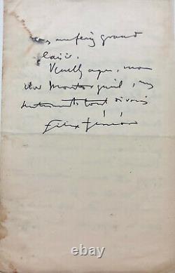 Felix Fénéon Autograph Letter Signed On Socialism In England (1897)