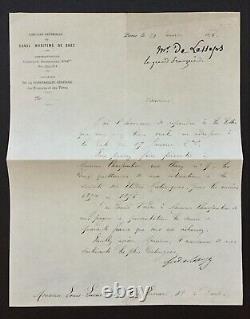 Ferdinand De Lesseps Canal De Suez Letter Signed Letter 1875