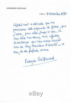 François Mitterrand / Autograph Letter Signed In Edmonde Charles-roux