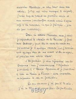 François Mitterrand / Rare Autograph Letter Signed By Youth. 1937