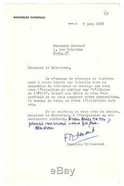 François Mitterrand / Signed Letter (1966) / O. T. A. N