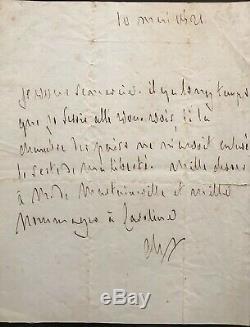 Francois Rene De Chateaubriand, Signed Autograph Letter, March 10, 1821
