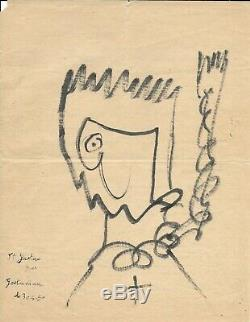 Gaston Chaissac Original Signed Drawing Autograph Letter Signed