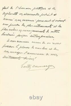 Gaston Doumergue Autograph Letter Signed About The Lamartine Monument