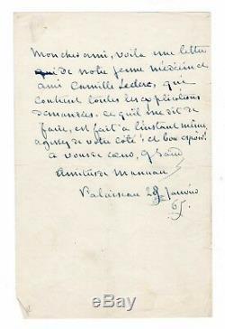 George Sand / Autograph Letter Signed (1865) / Camille Leclerc / Palaiseau