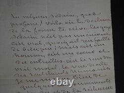 George Sand Autograph Letter Signee A Gustave Flaubert On Sedaine - Zola 1876