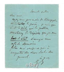 Georges Clemenceau / Autograph Letter Signed / Dreyfus Affair / Minutes Zola