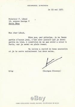 Georges Simenon Letter Signed Pierre Léaud Jury Prize In 1971 Jean-pierre