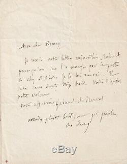 Gerard De Nerval Autograph Letter Signed In 1853