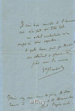 Gustave Flaubert / Autograph Letter Signed / Inedite 1866 Legion Of Honor