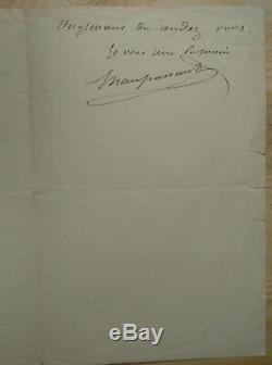 Guy De Maupassant Autograph Capital Letter Medieval Evenings Émile Zola Céard