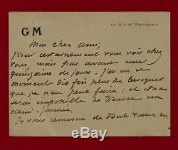 Guy De Maupassant / Autograph Letter Signed Card Circa 1884-1889