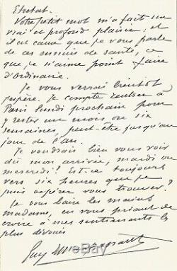 Guy De Maupassant Autograph Letter Signed To Countess Potocka. 1885