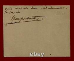 Guy De Maupassant / Letter Autograph Card Signed Circa 1884-1889