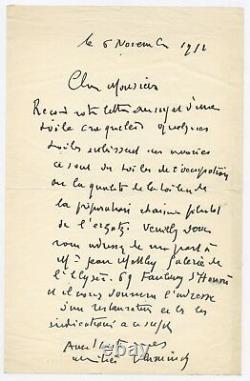 Handwritten Letter Signed Autograph Maurice De Vlaminck Painter Fauviste Cubiste