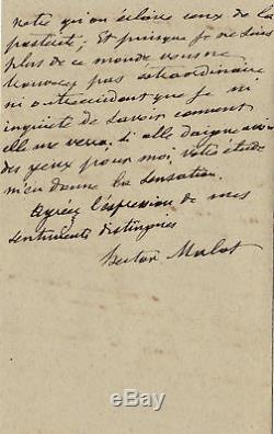 Hector Malot Autograph Letter Signed A H. D'almeras