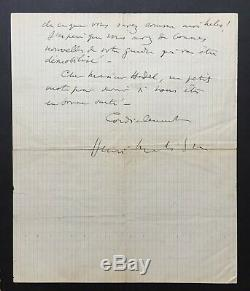 Henri Matisse Beautiful Autograph Letter Signed By The Debacle In 1940 And Exodus