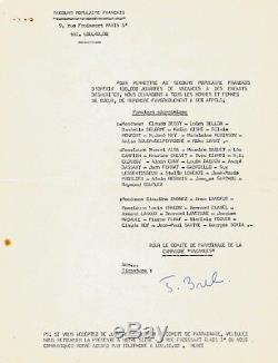 Jacques Brel Letter Signed On Behalf Of Disadvantaged Children. Autograph