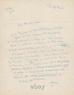 Jean Cocteau Autograph Letter Signed On Léautaud