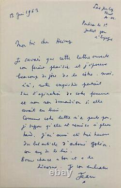 Jean Cocteau Autograph Letter Signed To Heinz Rosen (1953) Lady With The Unicorn