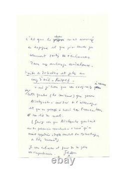 Jean Cocteau / Autograph Letter Signed Twice / Nietzsche / Mallarmé / Oxford