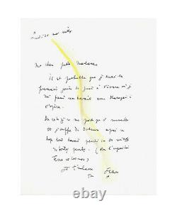 Jean Cocteau / Autograph Letter Signed With Drawing / Karajan / Opera / Music