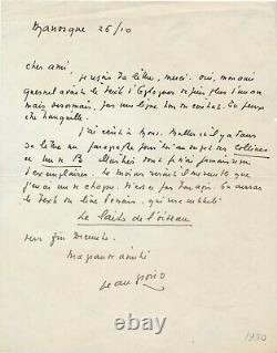 Jean Giono To Eugène-henri Duler Autograph Letter Signed The Milk Of The Bird