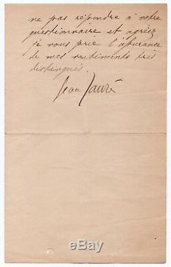 Jean Jaurès Signed Autograph Letter Paris November 20, 1906 L'humanité