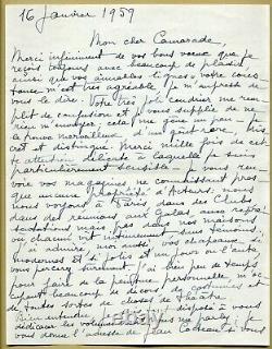 Jean Marais (1913-1998) Belle And Long Autograph Letter Signed In 1959 2 P