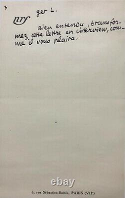 Jean Paulhan Beautiful Autograph Letter Signed About Literature