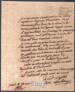 Jean-antoine Chaptal. Chemist. Signed Autograph Letter. 1812