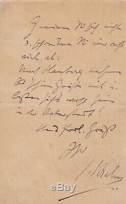 Johannes Brahms Autographed Letter Signed Hamburg