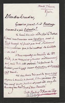 Jules Barbey D'aurevilly Autograph Letter Signed
