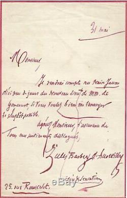 Jules Barbey Daurevilly / Signed Autograph Letter