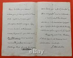 Jules Michelet Beautiful Autograph Letter Signed