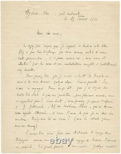 Jules Romans / Signed Autograph Letter / To Franz Hellens / Literature / 1920