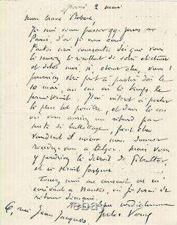 Jules Verne Autographed Letter Signed His Journey To The Mediterranean In 1884