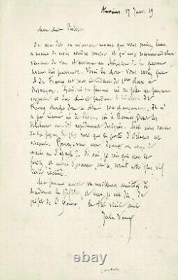 Jules Verne Signed Autograph Letter. His Son-in-law Albert De Francy. 1900