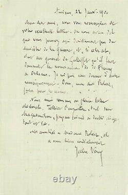 Jules Verne Signed Autograph Letter To Robert Godefroy. 1900