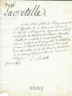 Lacretelle Autograph Letter Signed Napoleon 1st 1st Empire