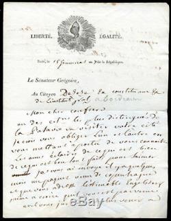 Letter Autograph Signed By Abbe Gregoire 1802, Batavie, Desèze