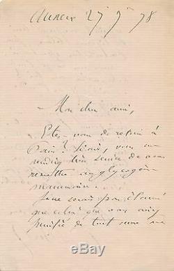 Letter Signed Autograph Medicine Physician Paul Bert Research Chemist Glycogen