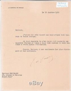 Lot 3 Letter Signed Tapuscrites General Charles De Gaulle Signed Dedication
