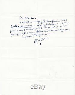 Louis Aragon Signed Autograph Letter