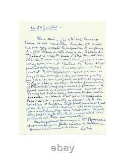 Louis Aragon / Signed Autograph Letter / Eluard / Liberté / Céline / Poésie