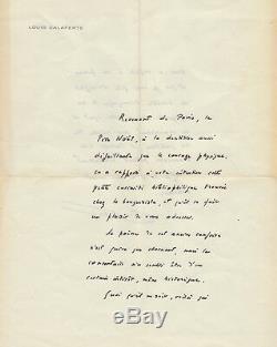 Louis Calaferte Autograph Letter Signed. 2 Pages 4to Paper Letterhead