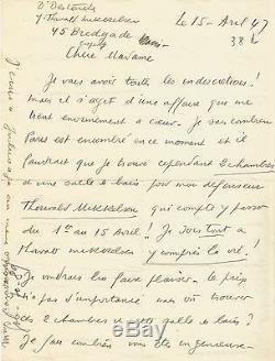 Louis-ferdinand Celine / Autograph Letter Signed At J. Daragnès / On Mikkelsen