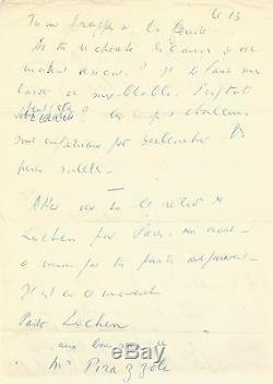 Louis-ferdinand Celine / Signed Autograph Letter / 2 Pages In Folio